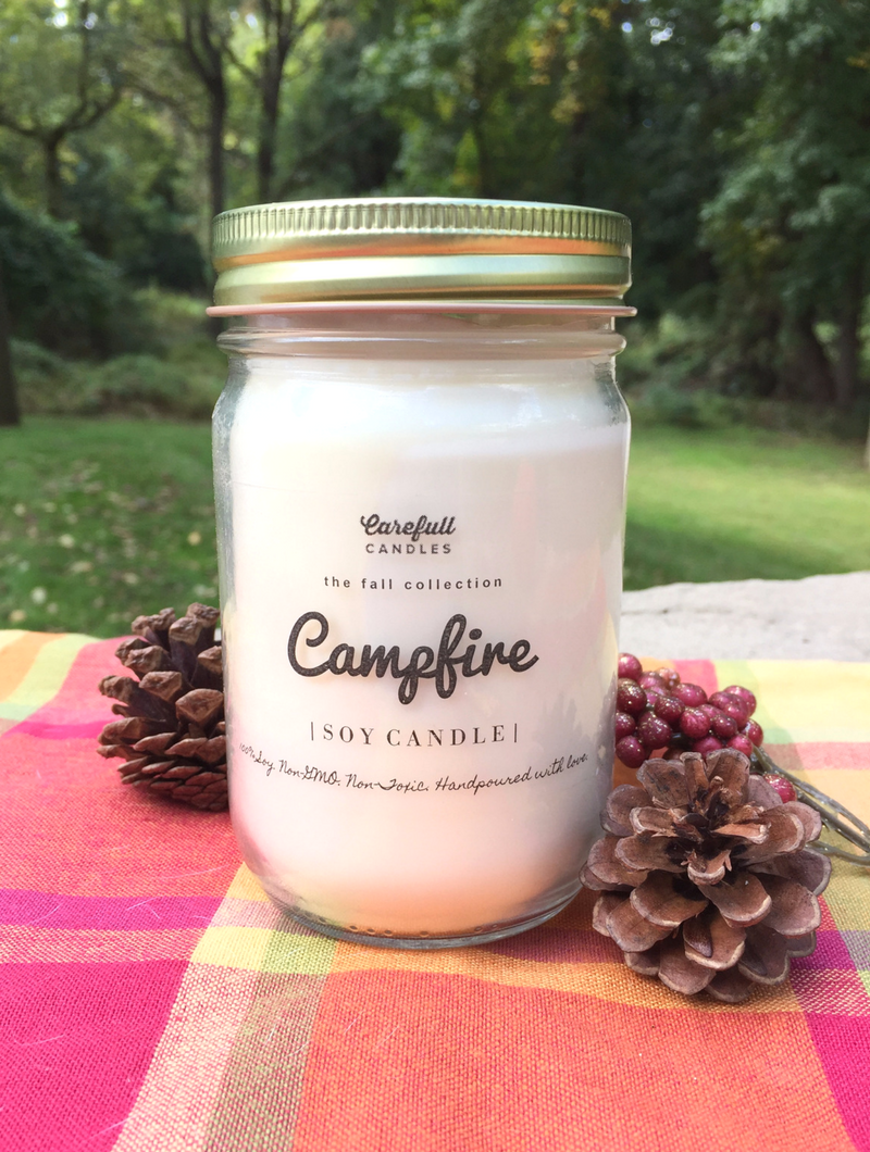 """This candle smells just like a freshly toasted marshmallow ? This is the Marshmallow Campfire 100% non-GMO soy candle from Carefull Candles. Enter to win it at smelltheroses.com or buy it on Etsy where code """"SMELLTHEROSES"""" save you 20%!"""