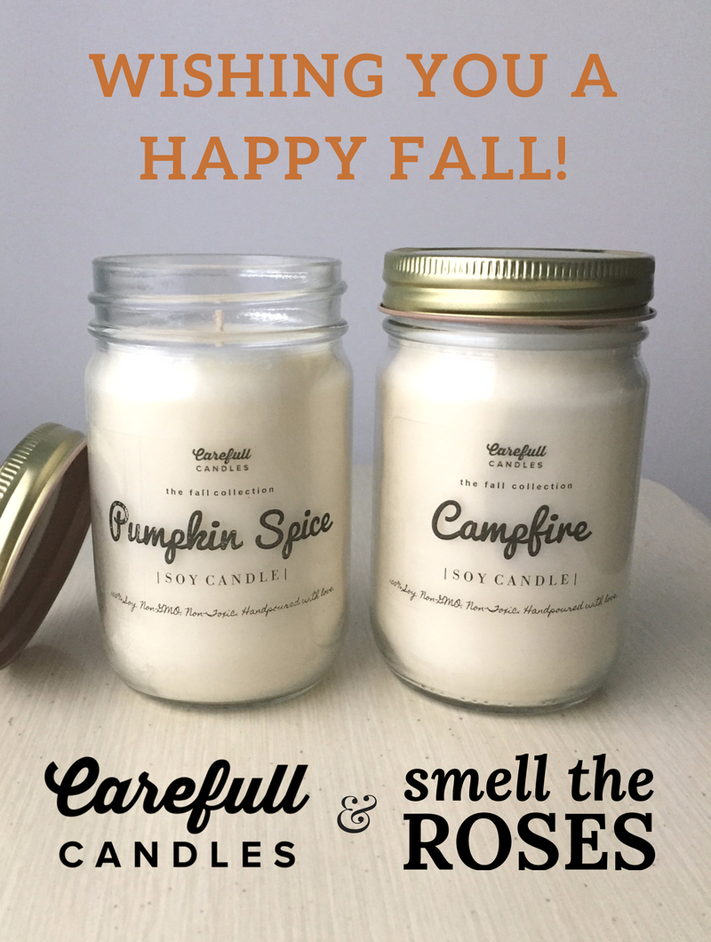 """Carefull Candles & SmelltheRoses.com Collaboration! Enter the giveaway at smelltheroses.com or purchase from the Carefull Candles Etsy shop where code """"SMELLTHEROSES"""" saves you 20% off your entire order!"""