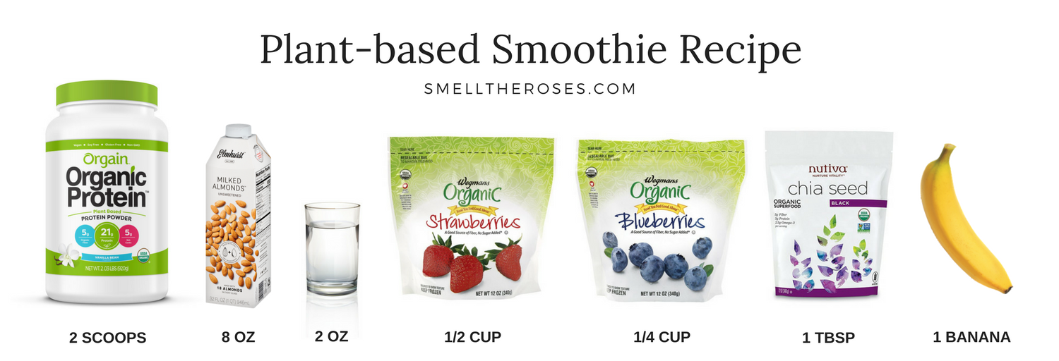 VEGAN PROTEIN + FRUIT MEAL REPLACER SMOOTHIE RECIPE | SMELLTHEROSES.COM