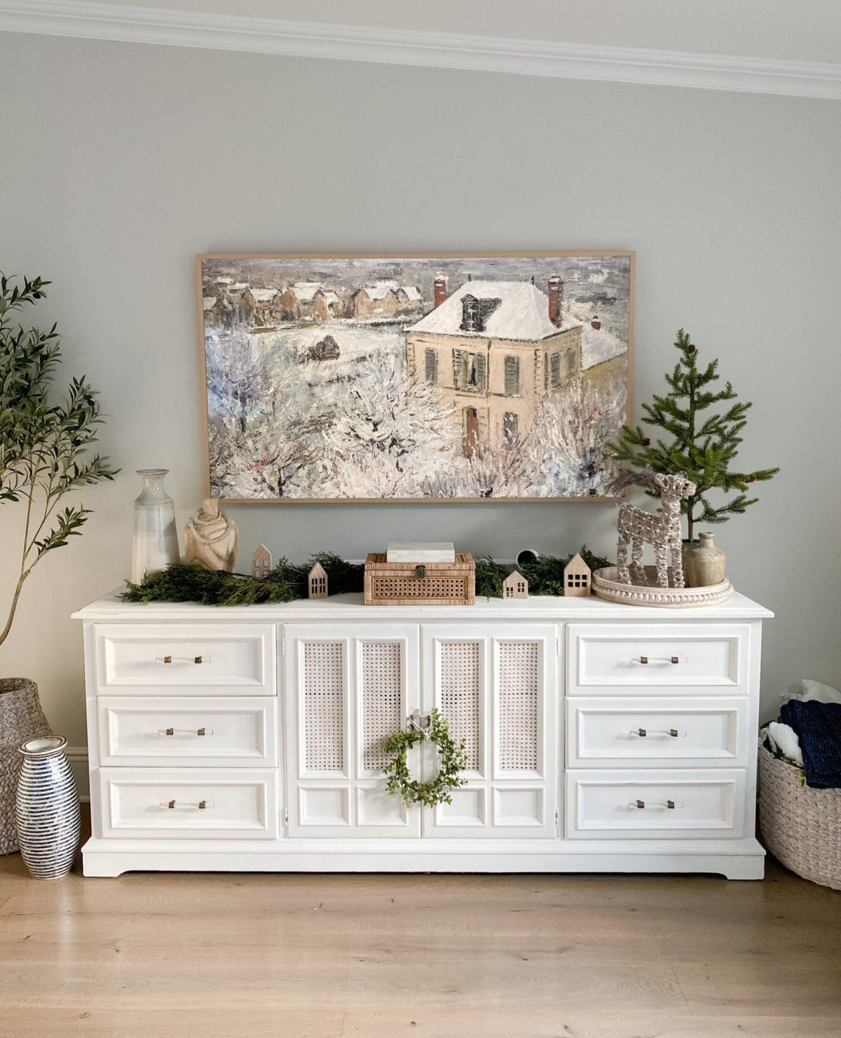 winter digital art displayed in a living room